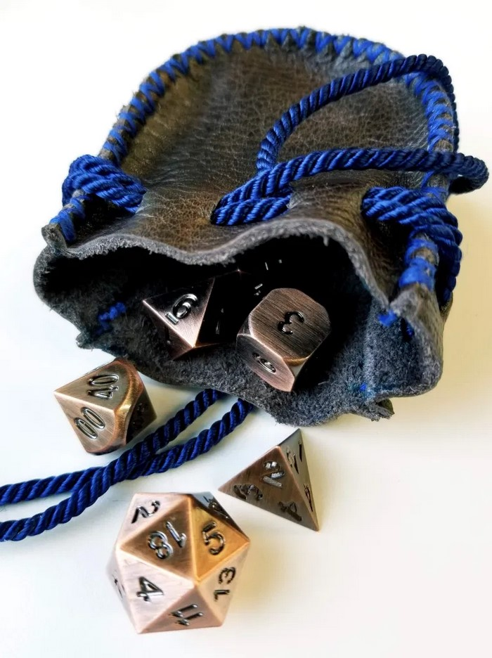 Basic Fantasy roleplaying Dice with handmade dice bag